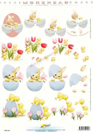 Morehead Easter Chicks & Bunny Rabbits 3D Decoupage Craft Sheet